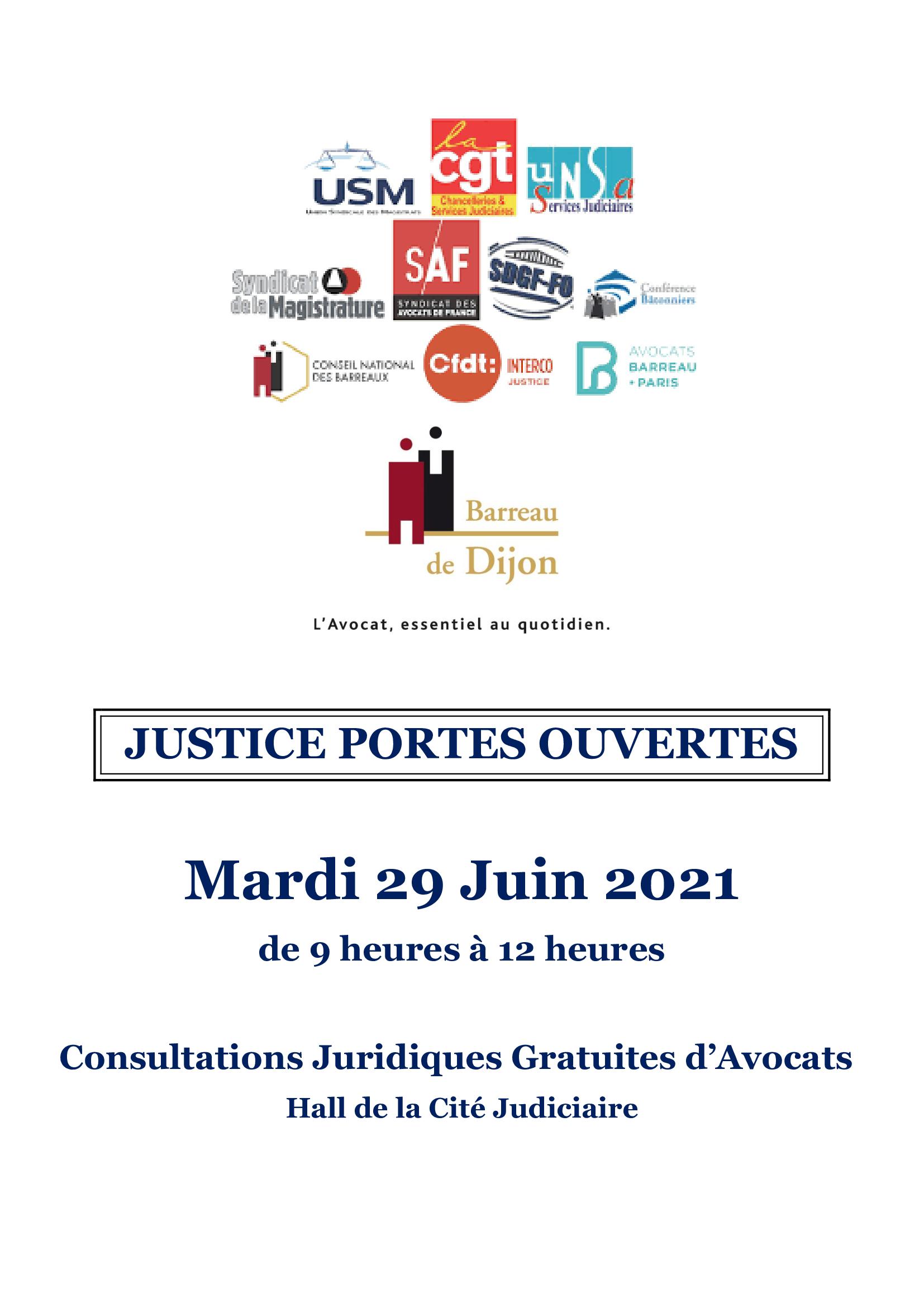 "JOURNEE NATIONALE ""JUSTICE PORTES  OUVERTES"" 29.6.2021"