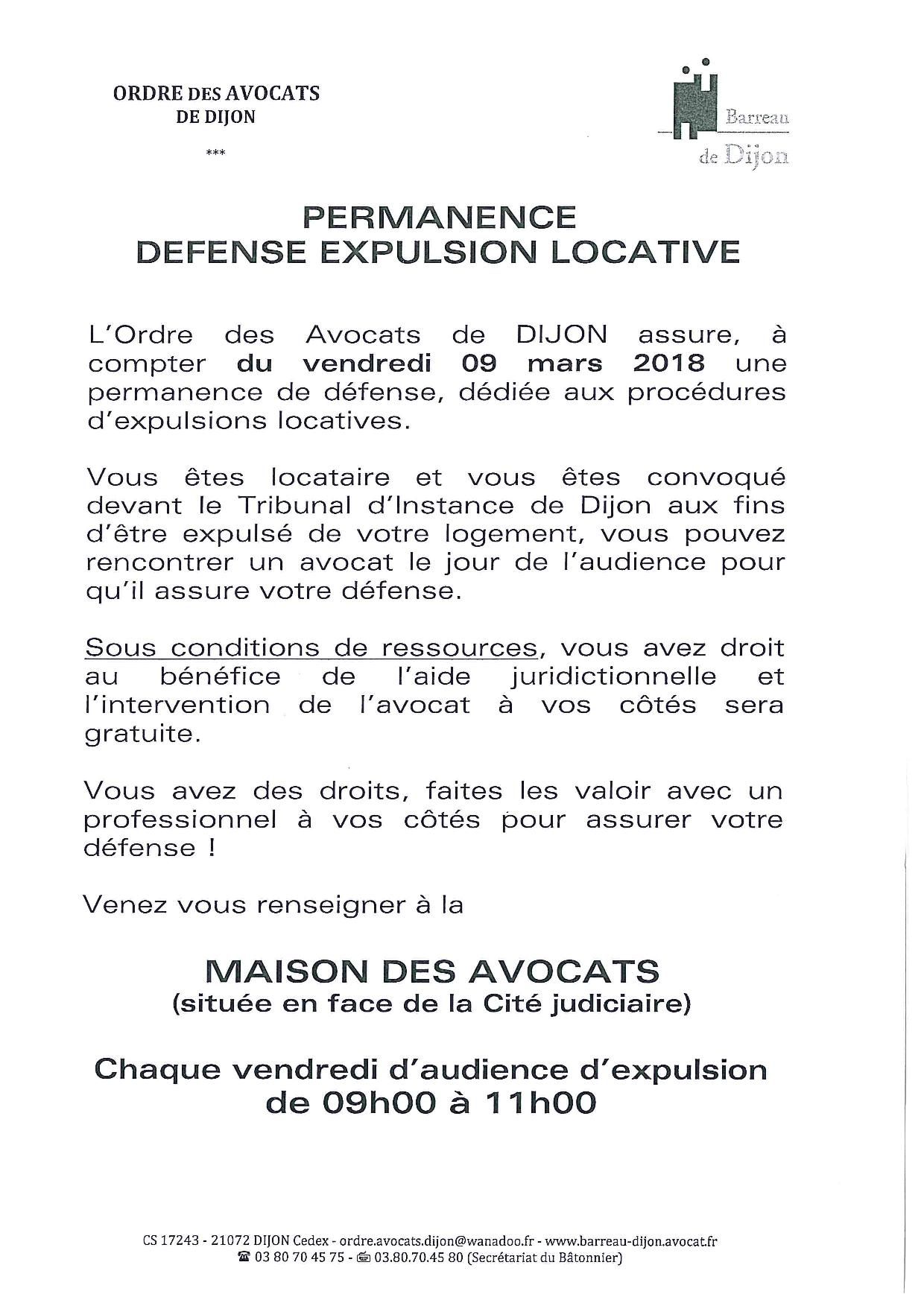 PERMANENCE DEFENSE EXPULSION LOCATIVE A COMPTER DU 9 MARS 2018