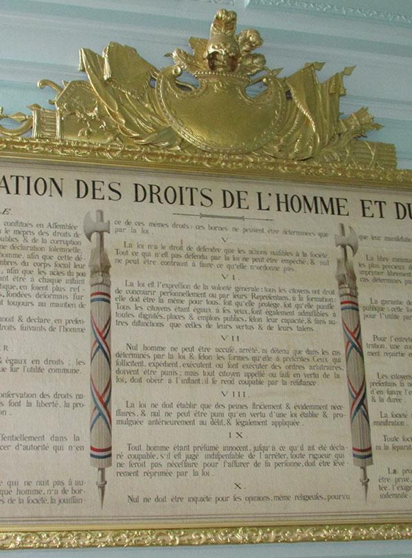 Panneau : déclaration des droits de l'Homme et du citoyen